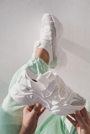 I Love Shoes Tosna Karışık Malzeme Bağcık Detaylı Kalın Taban Spor Ayakkabı Beyaz