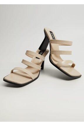 MANGO Woman Kadın Bej Bantlı Topuklu Sandalet 87015658