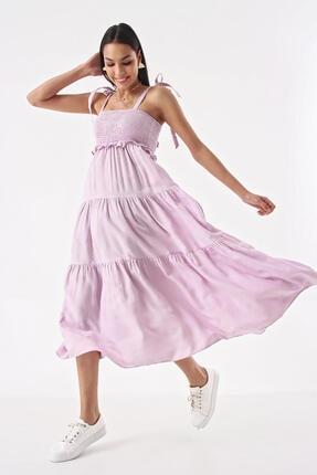 Modakapimda Lila Omuzdan Bağlamalı Ip Askılı Gipeli Elbise