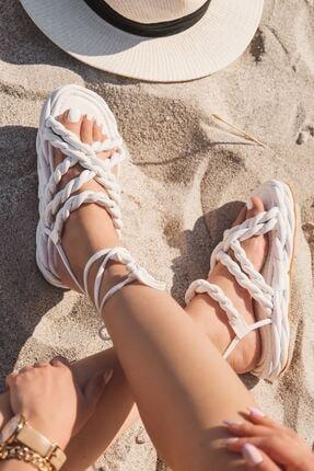 I Love Shoes Masfera Mat Deri Örgü Bağlama Detaylı Sandalet Beyaz