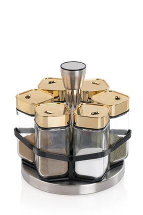 ACAR Alya 6'lı Yuvarlak Döner Metal Standlı Cam Baharat Takımı Gold 011117