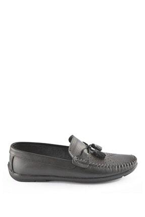 İgs Erkek Siyah  Deri Günlük Ayakkabı I1256y M 1255  Baskılı