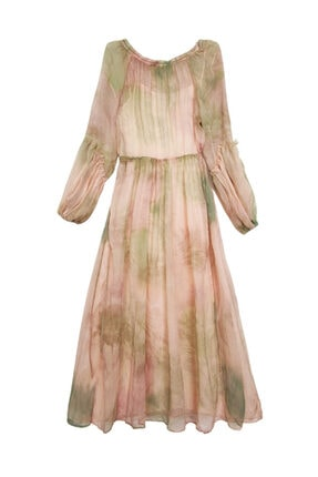 Mango Pastel Pembe Desenli Şifon Elbise
