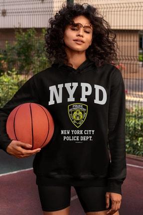 Rock & Roll Kadın Siyah Nypd Kapüşonlu Sweatshirt