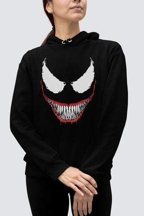 Rock & Roll Kadın Siyah Timsah Dişler Kapüşonlu Sweatshirt