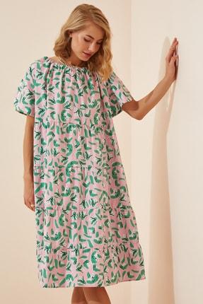 Happiness İst. Kadın Pembe Çiçekli Oversize Yazlık Poplin Elbise FN02826