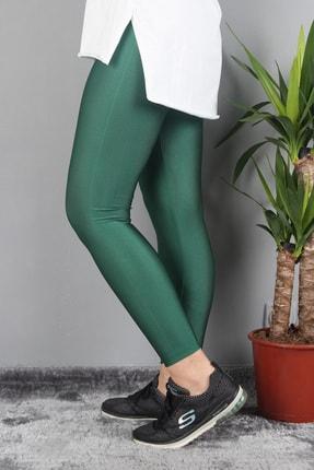 Günay Kadın Tayt Art7791 Parlak Yüksek Bel Dar Paça-yeşil