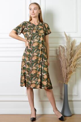 PİNKMARK Kadın Yaprak Desenli Haki Düğme Detaylı Büyük Beden Elbise Pmel25316