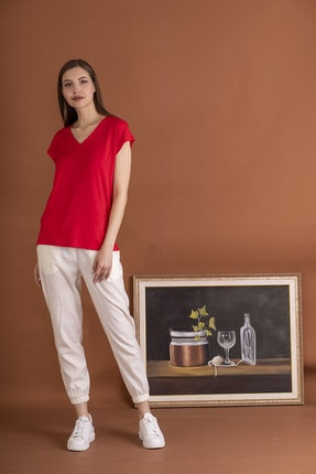 STAMINA Kadın Kırmızı Derin V Yaka Kısa Kol Bluz 4Vs1705