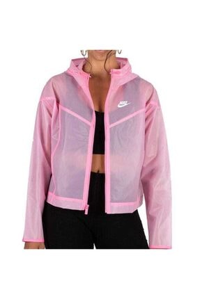 Nike Kadın Pembe W Nsw Wr Jkt Transparan Yağmurluk Rüzgarlık Ceket