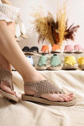 Limoya Blythe Vizon Triko Taş Detaylı Eva Tabanlı Sandalet