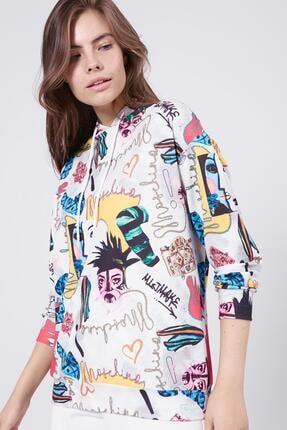 Pattaya Kadın Beyaz Baskılı Kapşonlu Sweatshirt P20W-4160