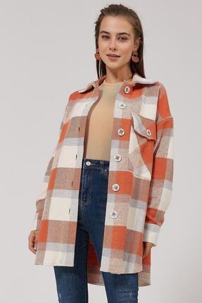 Pattaya Kadın Turuncu Kareli Oduncu Gömlek Ceket