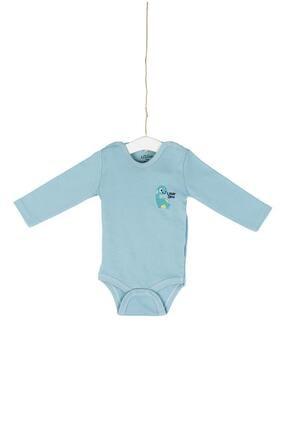 Aziz Bebe Little Dino Nakışlı Uzun Kollu Çıtçıtlı Body 0-12 Ay Azz001740