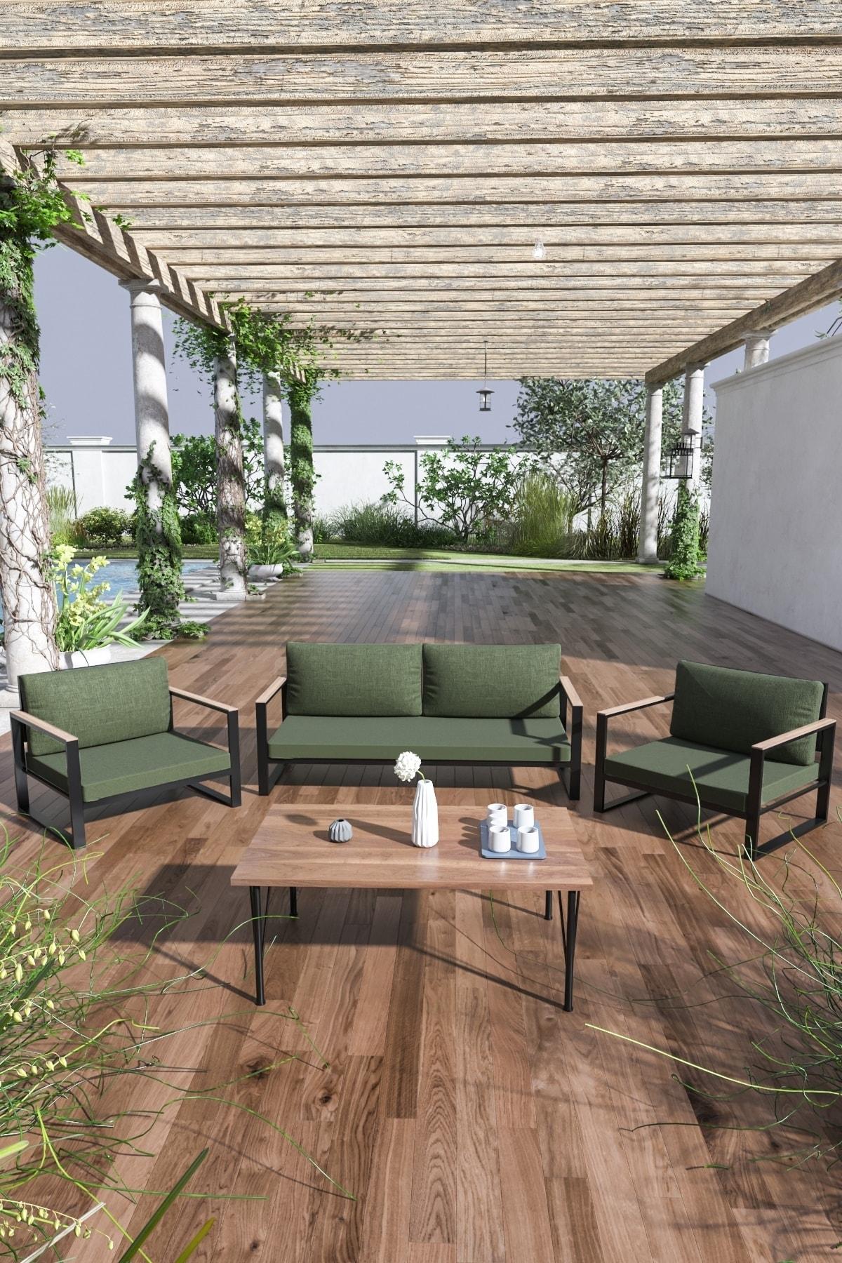 Evdemo Kobalt Bahçe Balkon Oturma Takımı Sehpalı 2+1+1 Haki 1