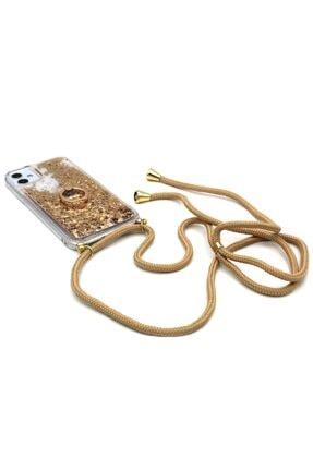Merwish Samsung Note 10 Plus Sulu Simli Boyun Askılı Yüzüklü Silikon Kılıf Gold