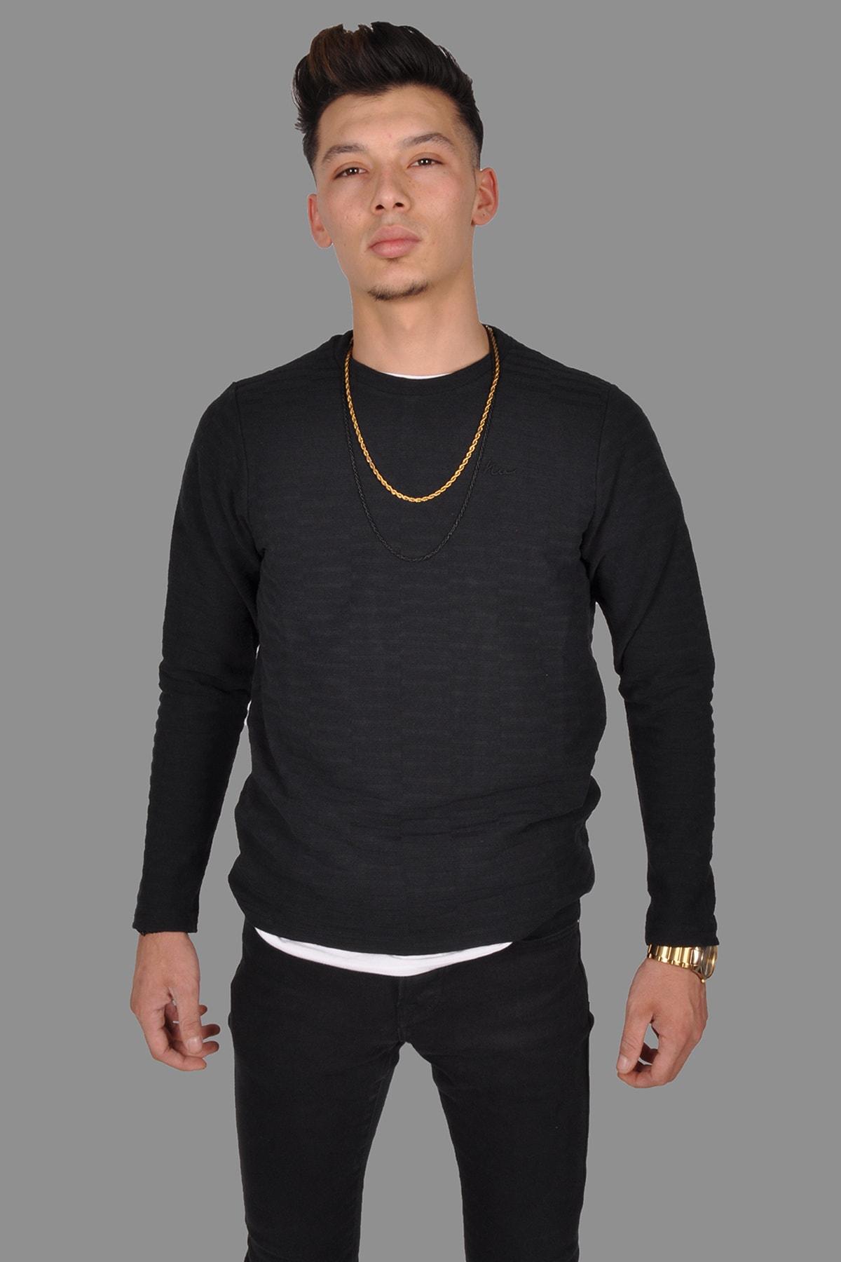 OKATLAR Erkek Siyah Triko Kazak 1