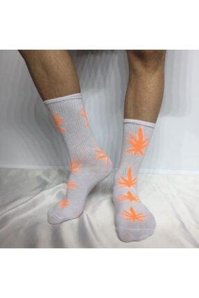 ADEL ÇORAP Unisex Beyaz  Neon Yaprak Desenli Çorap