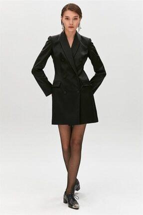 rue. Siyah Çift Düğmeli Saten Blazer Elbise