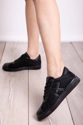 Milanoor Kadın Sıyah Bagcıklı Fileli Spor Ayakkabı P-017093