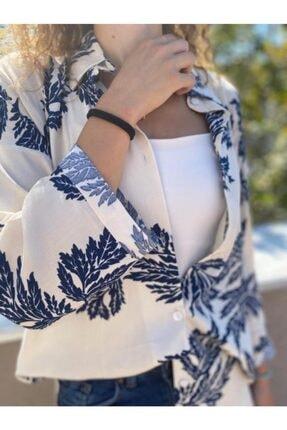 NİCE Kadın Yaprak Desenli Beyaz Gömlek