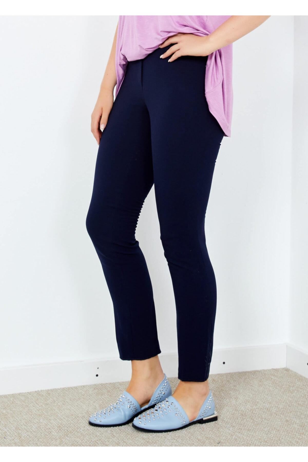Adze Kadın Lacivert Klasik Kesim Boru Paça Pantalon 42 1