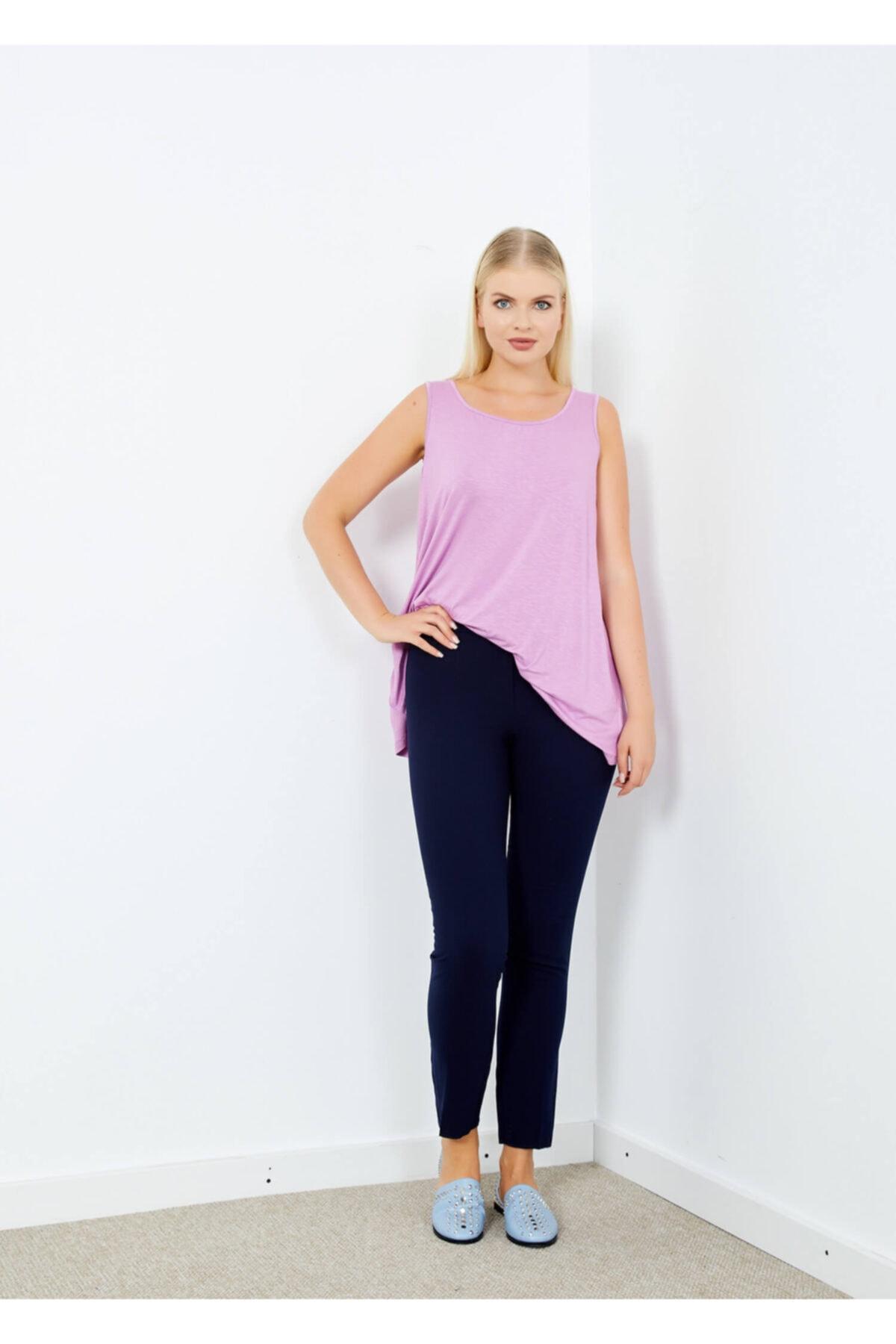 Adze Kadın Lacivert Klasik Kesim Boru Paça Pantalon 42 2