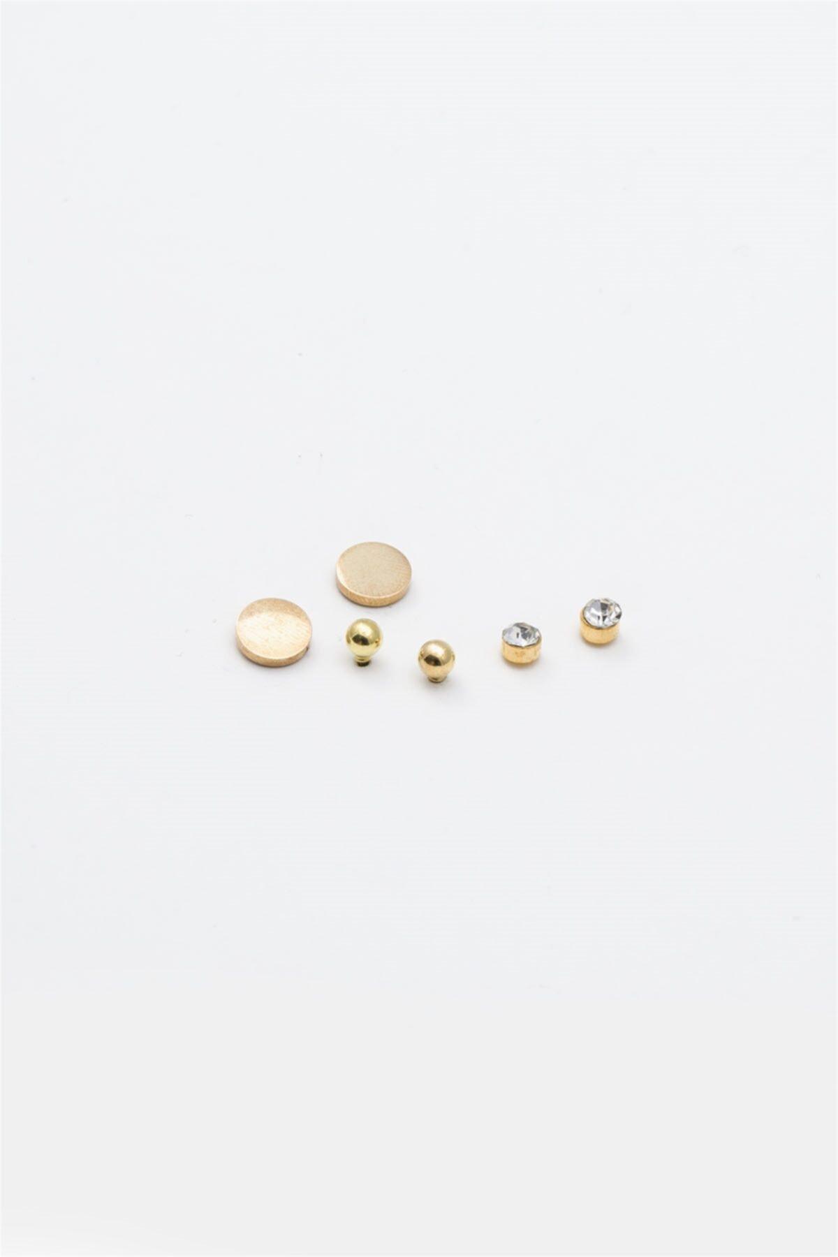 Sortie Aksesuar Yuvarlak Figürlü Zirkon Taşlı Çoklu Küpe Gold Renk 1