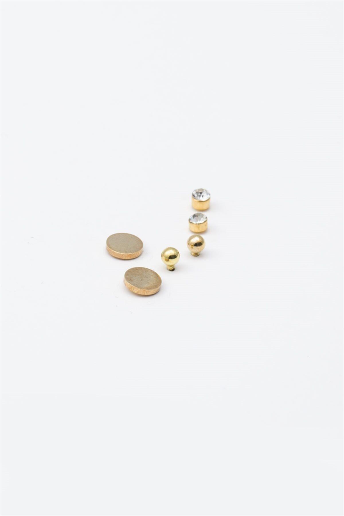 Sortie Aksesuar Yuvarlak Figürlü Zirkon Taşlı Çoklu Küpe Gold Renk 2