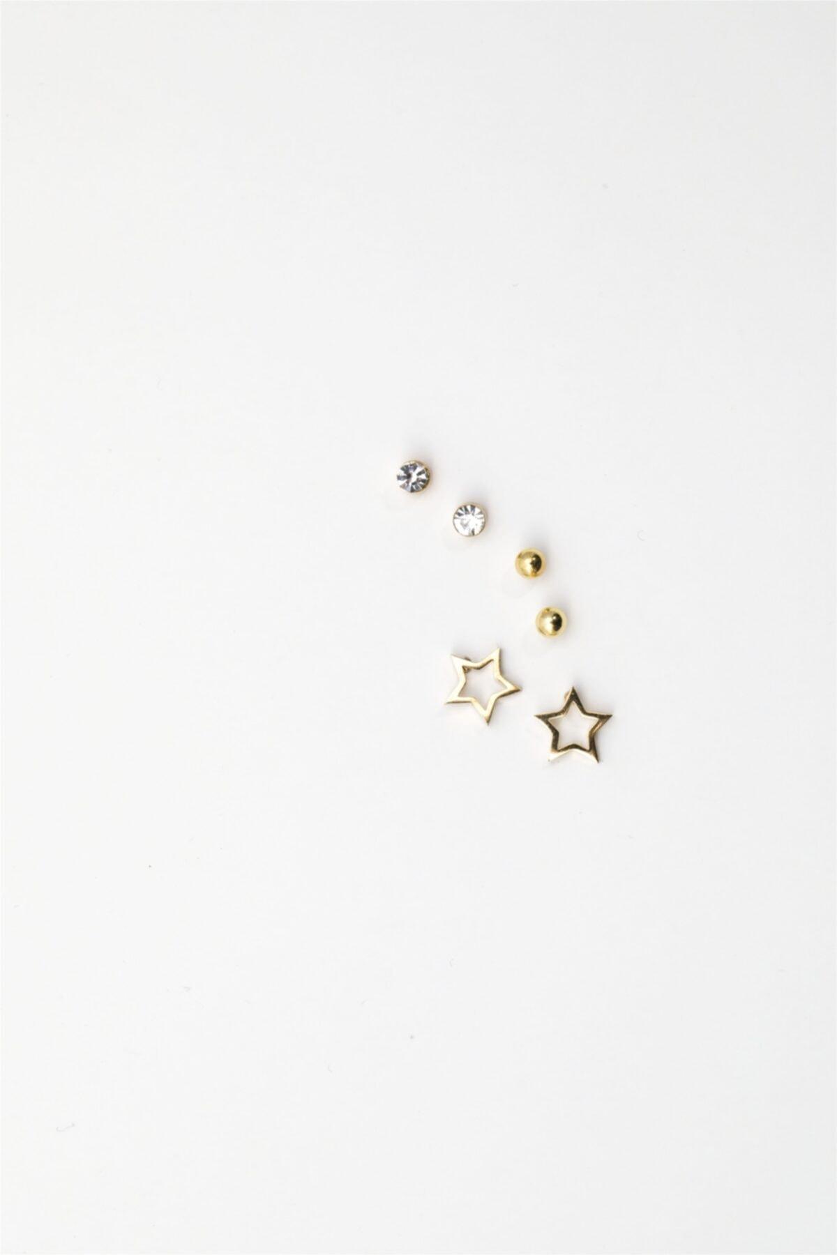 Sortie Aksesuar Yıldız Figürlü Zirkon Taşlı Çoklu Küpe Gold Renk 1