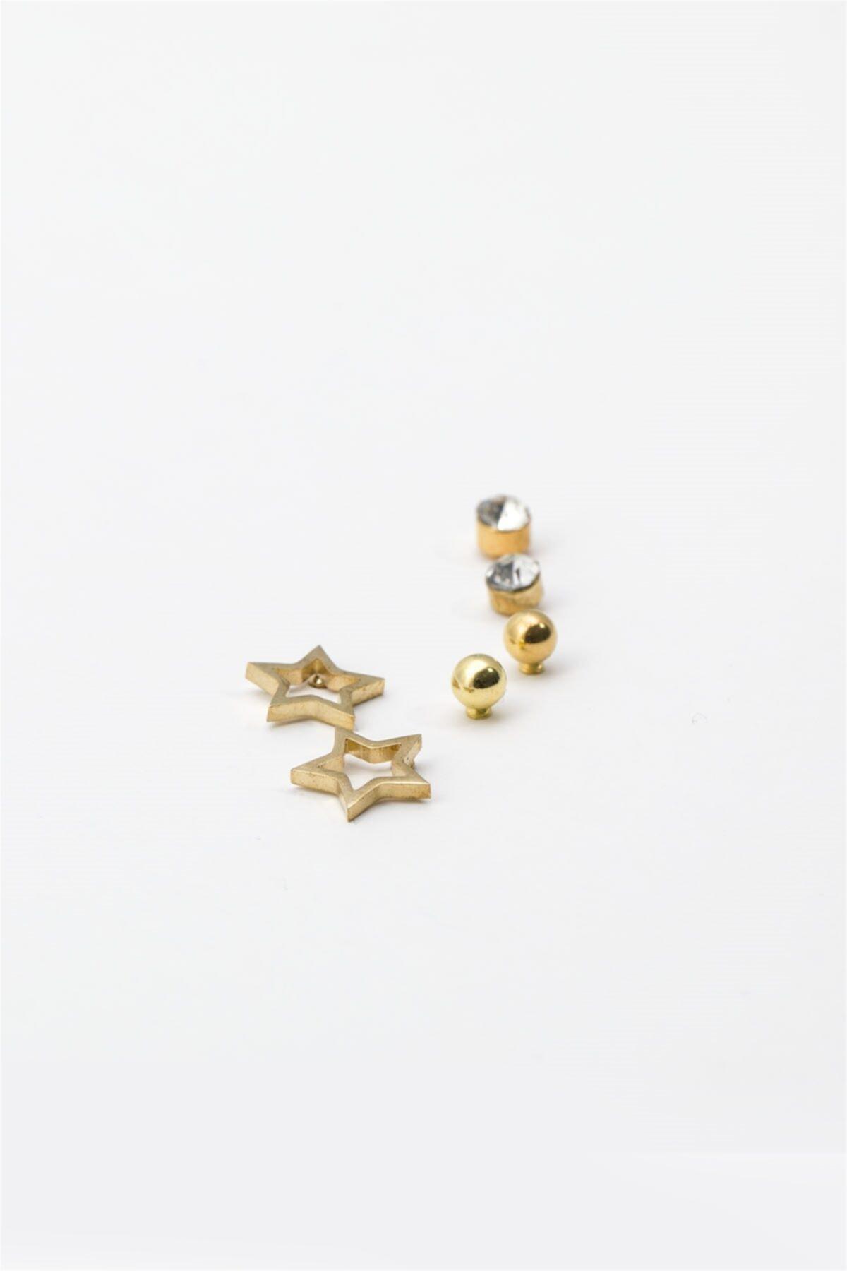 Sortie Aksesuar Yıldız Figürlü Zirkon Taşlı Çoklu Küpe Gold Renk 2