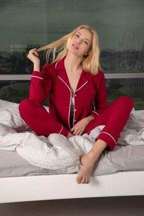 Huq Moda Kadın Bordo Pamuklu Likralı Düğmeli Biyeli Pijama Takımı - Bordo