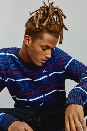 Tommy Hilfiger Erkek Mavi Kazak Tjm Pattern Mıx Sweater DM0DM09460