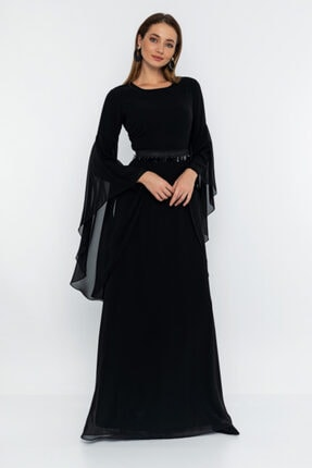 T'dee Concept Kadın Siyah Payet Kemer Detaylı Abiye Elbise