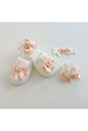 Petite Ponpon Baby Anne Kız Lohusa Terlik Seti Somon Kelebek Taşlı
