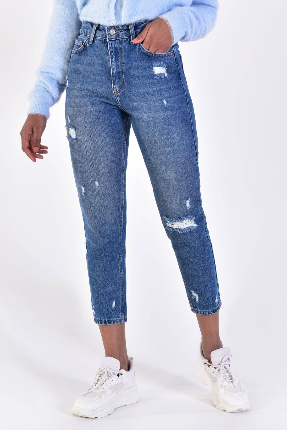 Addax Kadın Kot Rengi Yırtık Detaylı Pantolon 1