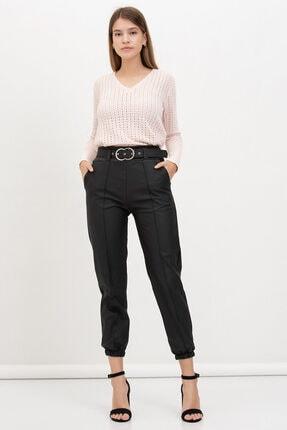 Mossta Kadın Siyah Kemerli Deri Pantolon