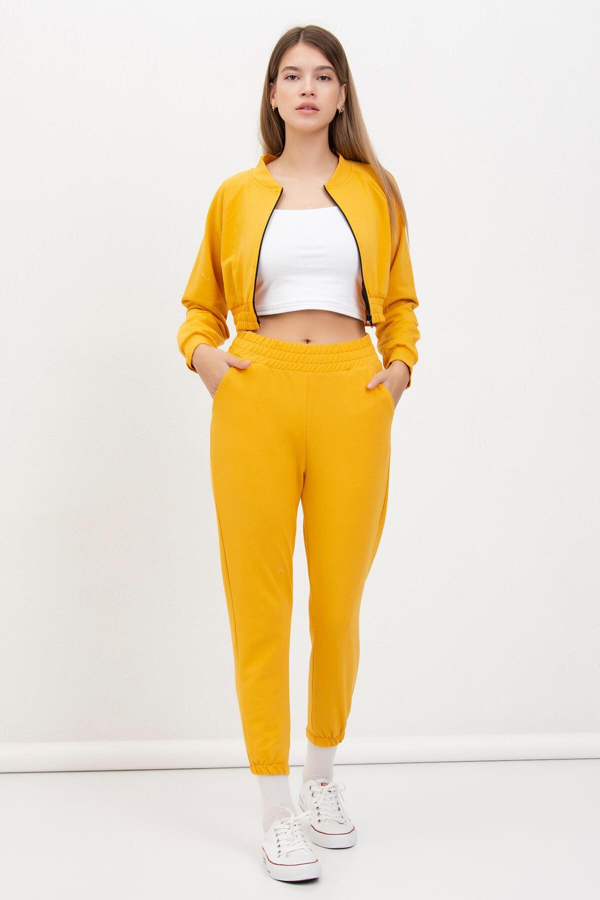 Mossta Kadın Sarı Fermuarlı Crop Takım 2