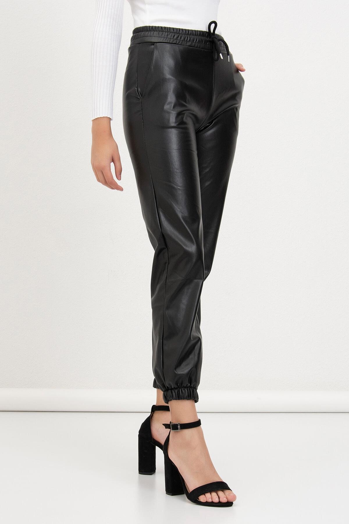 Mossta Kadın Siyah Jogger Deri Pantolon 2