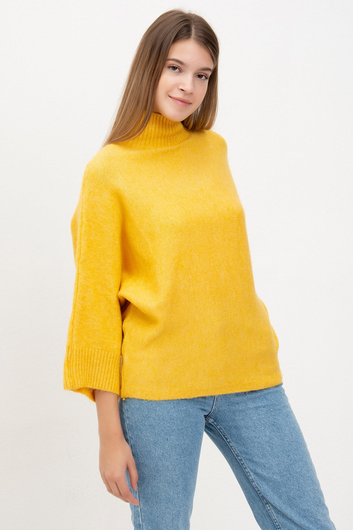 Mossta Kadın Sarı Yarasa Kol Triko 1
