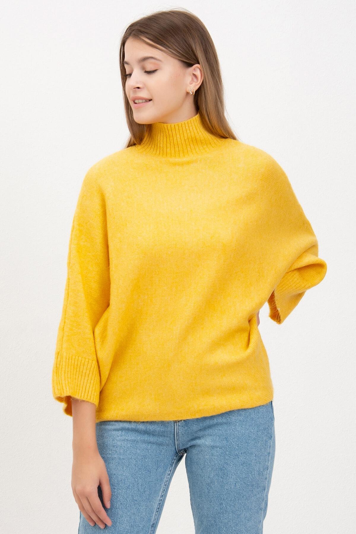 Mossta Kadın Sarı Yarasa Kol Triko 2
