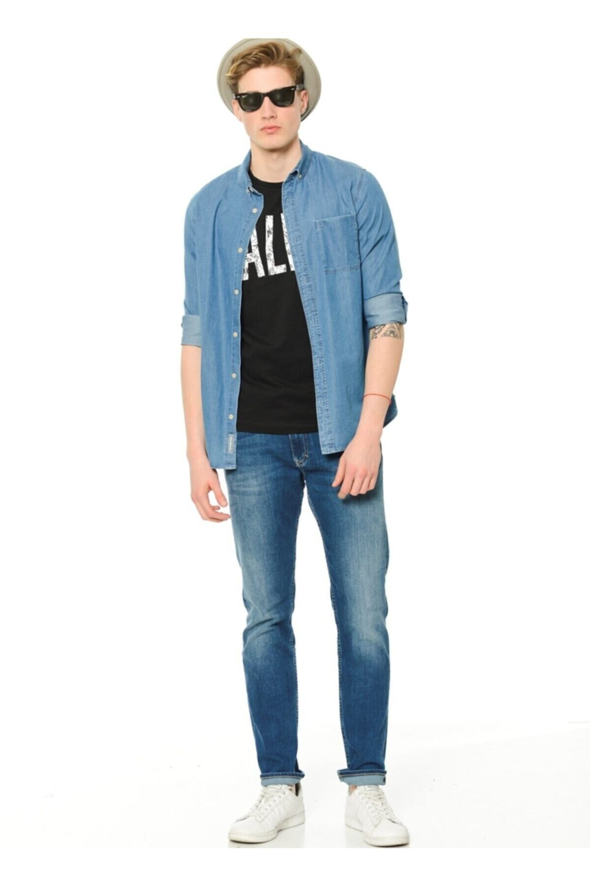 Calvin Klein Erkek Mavi Jean Pantolon  Slim Straight 1