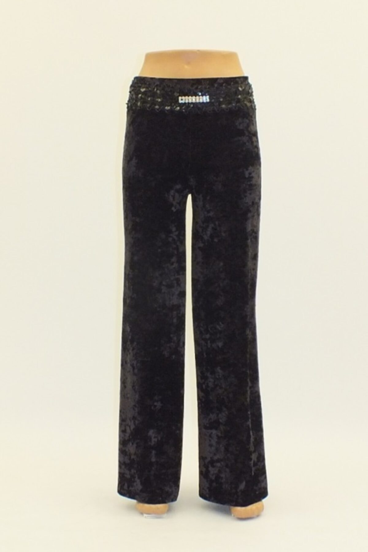 Otto Kadın Siyah Kadife Geniş Paça Yüksek Bel Pantolon 1