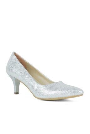 Shoes Center Gümüş Renk Büyük Numara Topuklu Kadın Ayakkabı