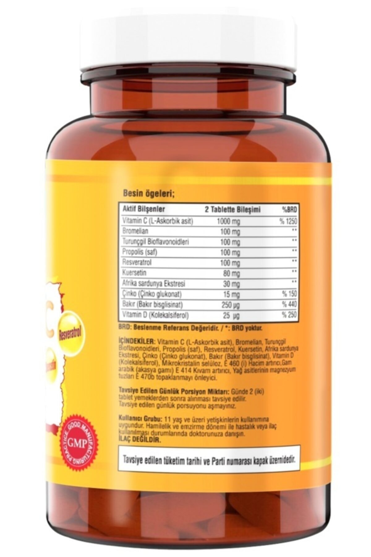 NCS Vitamin C Çinko Propolis 60 Tablet Vitamin D Quercetin Resveratrol 2