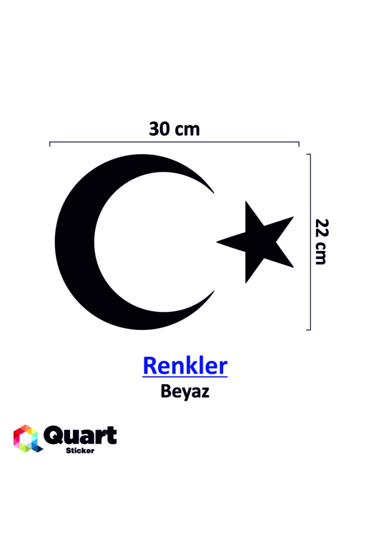 Quart Aksesuar 30 Cm Beyaz Ay Yıldız Sticker Türk Bayrağı Sticker 2