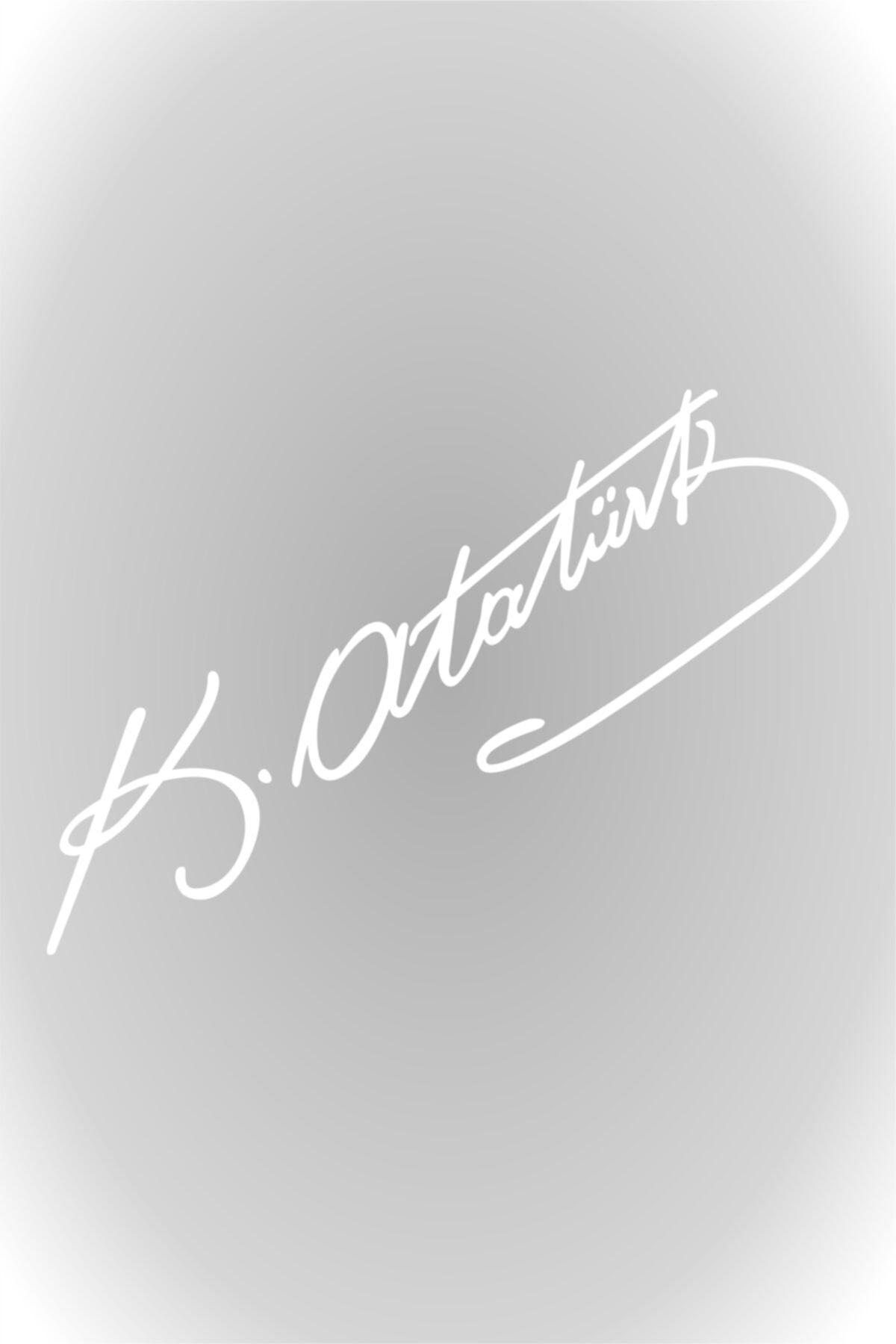 Quart Aksesuar Beyaz 30 Cm Kemal Atatürk Imza Sticker Araba, Oto Araç Sticker 1