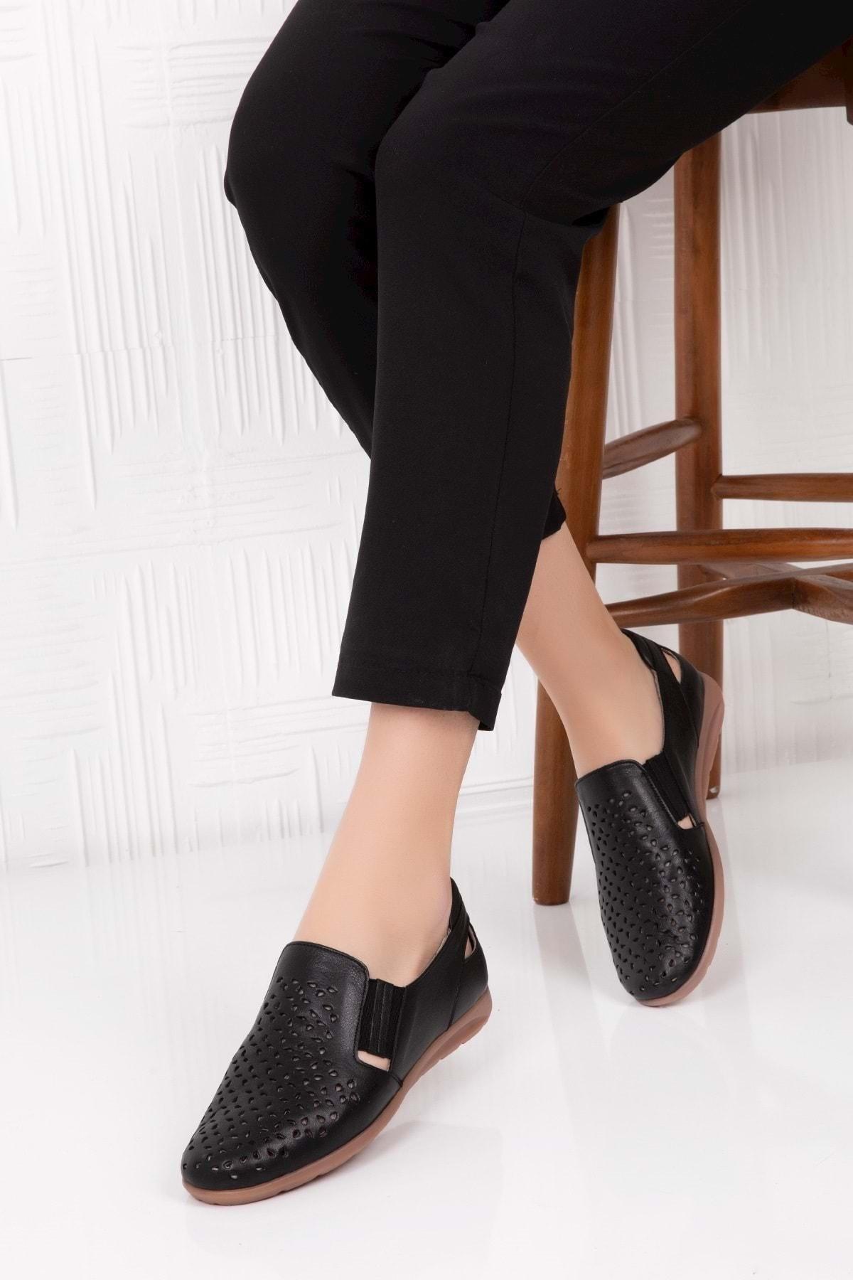 Gondol Kadın Siyah Hakiki Deri Ortopedik Taban Günlük Ayakkabı 39 Esfa.152y 1
