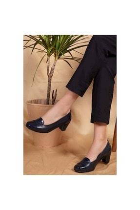 Gondol Kadın Siyah Hakiki Deri Topuklu Ayakkabı