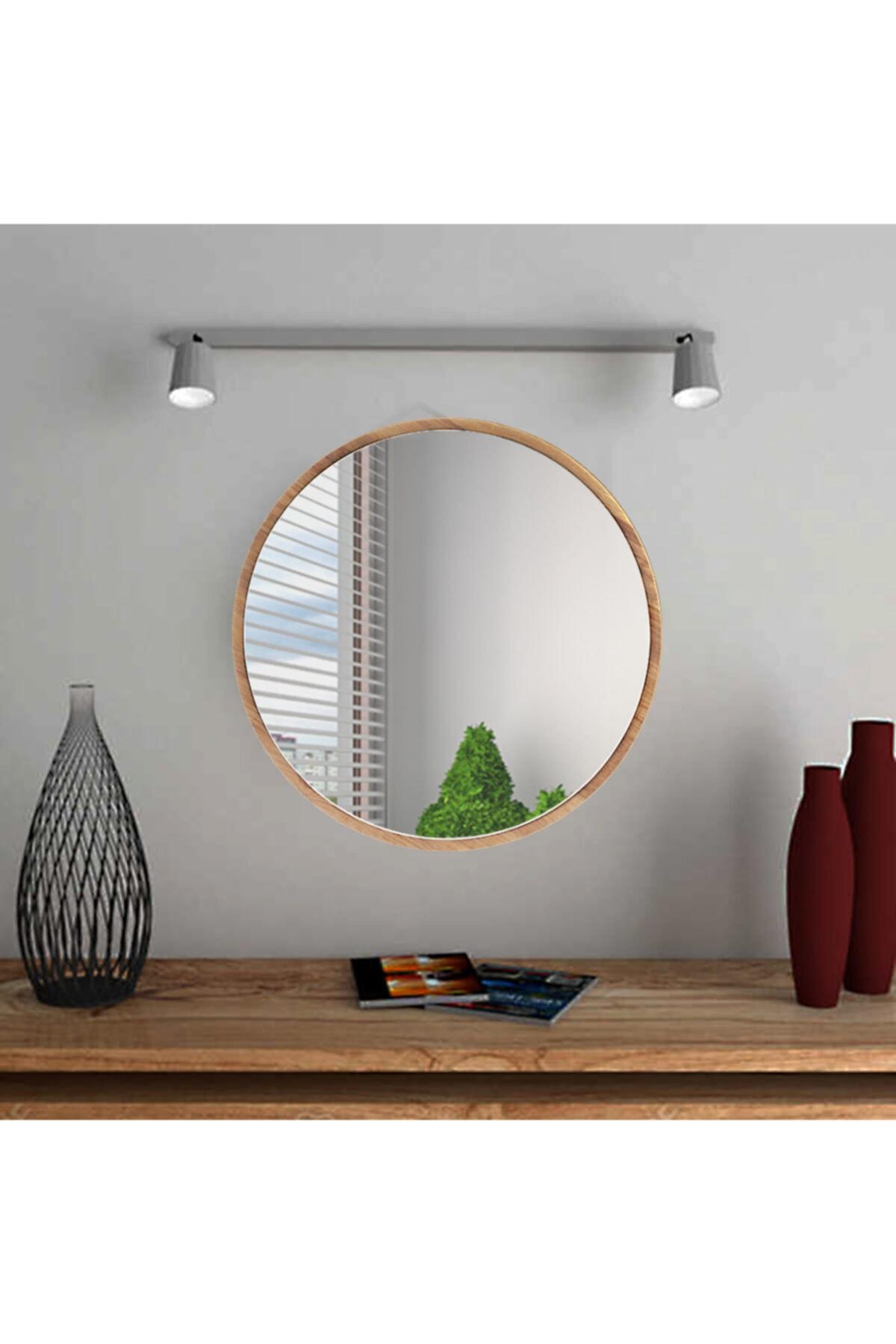 bluecape Yuvarlak Ceviz Duvar Salon Ofis Aynası 60 cm 1